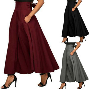 New Fashionable Women Stretch High Waist Plain Skirt Ladies Popular Pure Color Flared Pleated Long Skirt