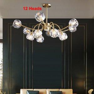 Contemporary lámpara de alta gama de cristal de lujo iluminación de la lámpara de cobre luminarias Lámparas colgantes con bombillas LED para salón dormitorio