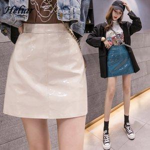 Yüksek Bel pu Deri Etek Bayan Pileli Ruffled Casual İnce Of Heliar 2020 İlkbahar Kadınlar Etek Moda Sürüm