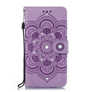 New Sun Mandala embossed point drill phone case TPU + PU anti-fall can support models for Red mi K20 with credit card slot pocket