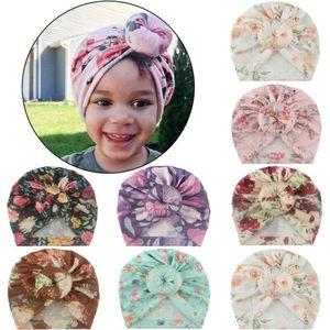 Newborn Toddler Kids hat Cute Indian Turban Knot cap Cotton Beanie Floral Flower Hat Cap Headwear Headdress