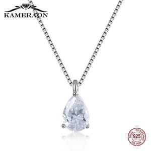 Kameraon% 100 925 gümüş Güzel kolye kolye İçin Kadınlar Yeni Ayarlanabilir Kutu Gümüş Zincir Zirkon Taş Parlak Takı