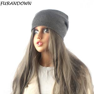 FURANDOWN 2017 зимние шапки для женщин сплошной цвет шерсть вязаная шапочка шляпа женская мода повседневная Марка Skullies шапочки