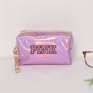 Женщины моды Дорожная сумка Организатор чехол для хранения сумки Розовый лазерный макияж сумка водонепроницаемый Beauty Box Zipper Make Up туалетных Wash сумки