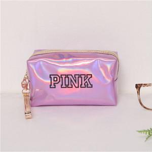 Storage Case Bag Donna Fashion Travel Organizer trucco Sacchetti rosa Laser sacchetto impermeabile Beauty Box Zipper Make Up toilette Wash Borse