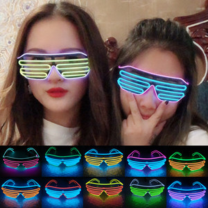 2019 Party Neon EL Lunettes EL fil Neon LED Light Up Lunettes de soleil Lunettes Costume Rave Party DJ SunGlasses Birthday Party Décor