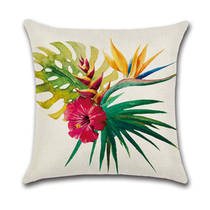 Cubiertas Inicio Cojín 45x45 cm personalizable de una cara de impresión Flor tropical del flamenco de lino Sofá Almohada decorativa Caso DH0568 T03