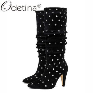 Odetina New Fashion Women Spike High Heel Mid Calf Boots Studded Pointed Toe Elegant Rivet Winter Half Boots Plus Size 43