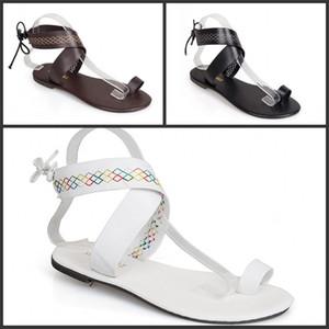 Chaussures ouvertes Rome Toe plage Noir Blanc Brun été Bandage Sandales pour femme douce Mode Confortable Rome Flattie 27hmD1