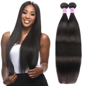 Extensiones de cabello virgen tramas de cabello humano recto brasileño de primera calidad teje 8-30 pulgadas color natural envío de la gota