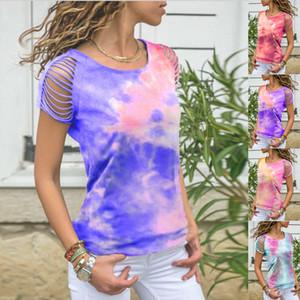 2020 venda quente novo de mangas curtas tie-dye camisa das mulheres buraco quebrado queimado T-shirt de manga curta ombro