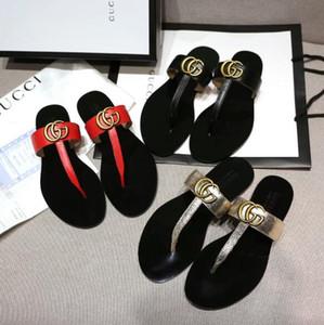 Diseñador de la marca de verano de las mujeres chanclas zapatillas de moda de lujo de cuero genuino desliza sandalias de cadena de metal para mujer zapatos casuales SZ 35-42