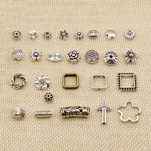 80 Pieces Silver Charm Or Pendants Jewelry Making Perforated Flower Small Hole Beads HJ237