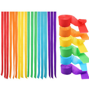 3.5cm * 10m Krep Kağıt Akıntıları DIY Kağıt Garland Fotoğrafçılık Arka planında İçin Düğün Doğum Günü Partisi Bebek Dekor renkli kağıt FFA3784