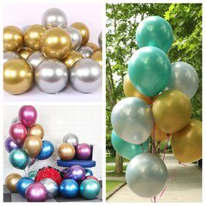 La manera caliente de 50 piezas / set 12inchParty Globos gruesa perla T2G5027 globo de juguete de los niños decoración de la boda de oro de metal cromado globo