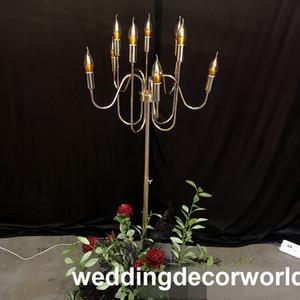 Nuovo stile matrimonio oro candela titolare 10 braccia decorazione evento festa di cristallo candelabri decor0985