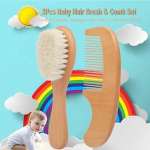2pcs / Set Bebeğinizin Sağlığı ücretsiz gönderim için Doğal Ahşap Tarak Saç Fırçası Bakımı Çocuk Masaj Bebek Takımı Saf Doğal Emniyet Malzeme bebe