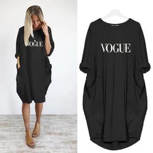 Vestidos casuales para mujer con estampado de letras Vestidos sueltos de diseñador de bolsillo grande para mujer Ropa de manga larga para mujeres