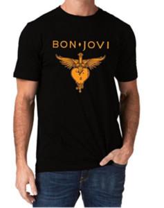 Bon Jovi Band Heart Logo Jon O - Collo manica corta in cotone tinta unita
