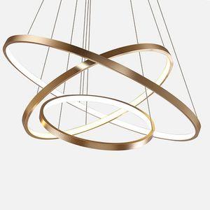 Appendere le luci lampada della cucina Island Dining Living Room Decor negozio moderna Hanglamp Grande Anello acrilico luce del pendente in oro