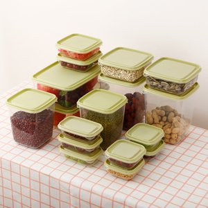 17 Pieces of Preservation Box Set Kitchen Finishing Storage Plastic Sealed Box Refrigerator Storage Jar