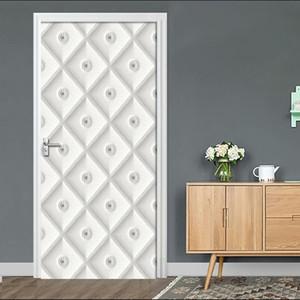 Self-Adhesive Door Sticker 3D Stereo White Soft Bag Art Mural Wallpaper Living Room Bedroom Decor Door Poster Waterproof Sticker