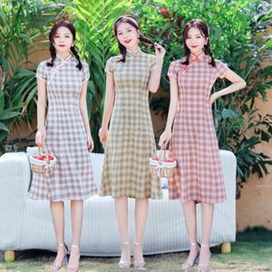 Menina Cheongsam 2020 New Improved Cheongsam Vestido A Versão solto e Limpar Senhora longo Cheongsam Skirt