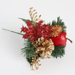 Fleurs artificielles Boule de Noël cône de pin Bouquet pour la maison de mariage Nouvel An Décoration Plantes Faux Fleurs artificielles