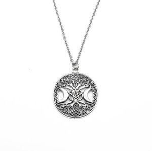 Triple Moon Pentagramma soprannaturale Collana pentacolo di stregoneria Pendente Amuleto Collane Gioielli Collare gotico Choker Argento antico NUOVO