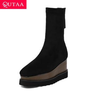 QUTAA 2020 Nuovo autunno inverno moda stivali metà polpaccio in vera pelle tessuti elasticizzati spessore cerniera donne stivali taglia 34-42