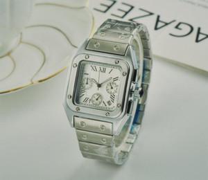 전체 기능 남성 광장 시계 제네바 정품 스테인레스 스틸 석영 시계 패션 남성 시계 남성 손목 시계