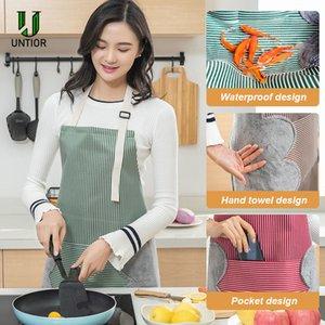 UNTIOR Mulheres avental impermeável ajustável Correia de pescoço absorvente Cozinhar Jardinagem churrasco Baking mangas avental da cozinha com o Pocket
