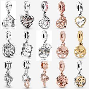 925 Roots Sterling Silver Rosa Alberi ciondola fascino familiari ciondola monili di fascino misura branelli Pandora Bracelet fai da te