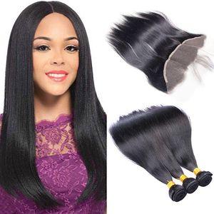 Gerade Art Remy Hair 3 Bündel mit 13x4 Spitze Frontal Natural Black verworrenen gerade Weave 7a Jungfrau-Haar Rohboden Remy Menschenhaar
