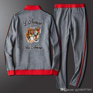 2019 Luxe Survêtement Jogger Costumes Veste Pantalon Ensembles Hommes Designer Survêtements Tiger Head Pull de sport de marque survêtements