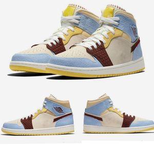 2020 Release Authentic 1 Mid SE Fearless Maison Chateau Rouge Retro PALE VANILLA CINNAMON Blue Yellow Men basketball Shoes CU2803-200