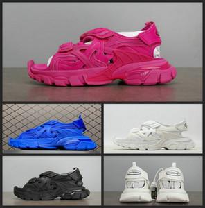 Nouveau Triple S de piste 4.0 Sandales Mode femme Hommes Chaussures de Luxe Rose Blanc Noir Bleu Slides Plage Chaussures Casual
