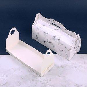 Elegante diseño de mármol Cake Roll Box con manija Swiss Roll Bakery Packaging Box Wholesale