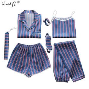 2019 sexy frühling sommer 7 peices pyjamas sets frauen silk satin pyjama set weiche nachtwäsche hause kleidung frauen pyjamas anzug t8190621