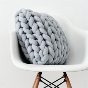 Praça Chunky Wool Pillow Handmade Knitting Almofadas INS Nordic trançado almofada para a sala dos miúdos Decoração Sofá Almofadas Bed Jogue
