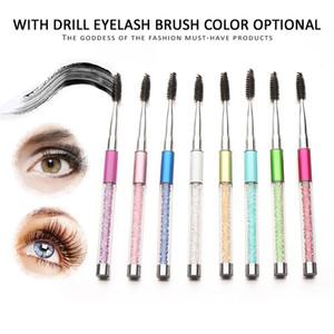 Diamond Maquillaje Kit de cepillo de pestañas 16.7 cm Cosmética profesional Aplicador de rímel Maquillaje de ojos Cepillos Kit de herramientas Negro Blanco Rosa 10 colores
