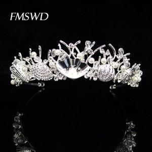 Silber-Farben-Kronen Trendy Shell handgemachte Kristall Hochzeit Tiara-Kronen-Brautkopfschmuck Prinzessin Haarschmuck HG-195