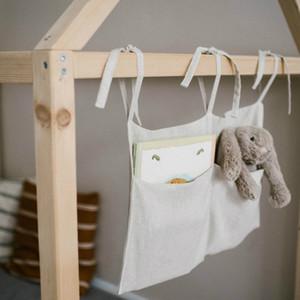 Neugeborenes Wipes Kinderbett Krippe Organizer Bettwäsche Zubehör Dekorative Leinen Windel Doppel Taschen Nursery hängende Speicher-Beutel