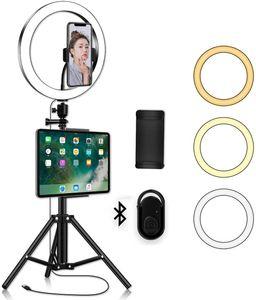 LED Ring Light с подставкой Kit Телефон Штатив - Yingnuost 10 «» Камера Фото Запись видео селфи Ringlight с Tablet держатель для IPad