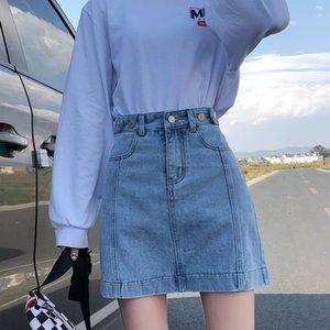 New2020A Светлого цвет Denim юбка с высокой талией и тонкой двойной кнопкой Девочек Универсальной юбкой, модной юбкой и юбкой ретро