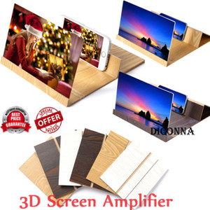 Screen Magnifier 3X Zoom Lupa Universal 3D HD Ampliar Filmes Amplificador Reading Magnifier dobrável Stand Holder