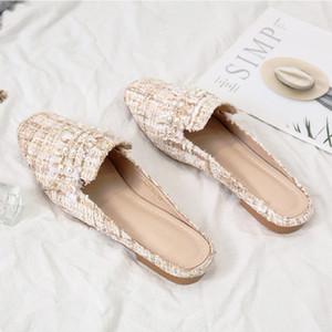Khaki Mules Shoes Women Slippers New Fashion Comfort Bead Designer Slides Summer Casual Flat Slippers Women 2020 Mules Femme
