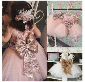 5 colores Cute Girl encaje paillette camisola vestido niños bebé princesa fiesta bowknot colores del arco iris sin mangas tutú vestido falda