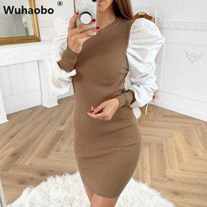 Wuhaobo Seksi Örgü Patchwork Elbise Kadınlar Moda O-Boyun Puff Kol 2020 Yeni Stil İlkbahar Sonbahar İnce Parti Kısa Elbise
