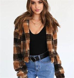 Печать Имитационные Lamb Bomber Jacket Hat Съемные пальто Женская мода осень и зима вскользь куртки Vintage Plaid